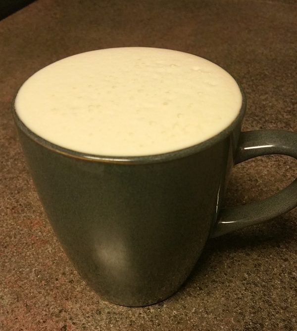 Bulletproof Coffee made with organic coconut oil, grass-fed butter, and heavy whipping cream; keto/low-carb