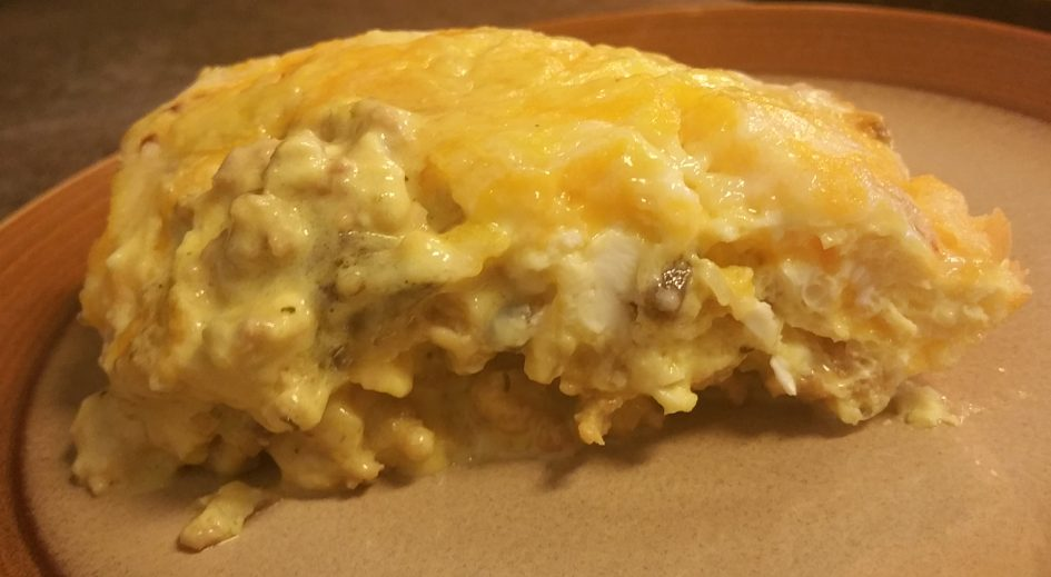 Keto breakfast casserole with sausage and cheese