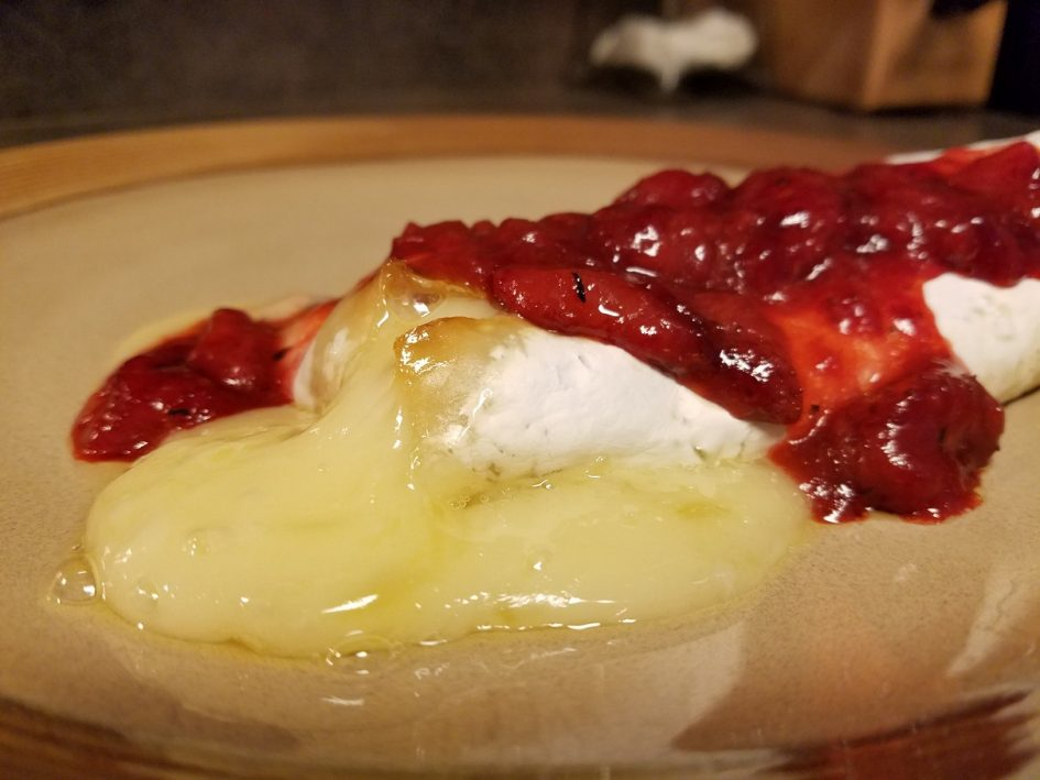Baked brie with strawberry compote