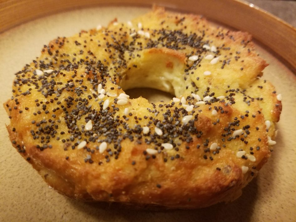 Keto low-carb breakfast bagel, gluten free, wheat free, grain free