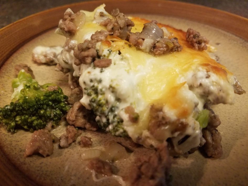 Keto and Low Carb ground beef, turkey sausage, and broccoli Alfredo casserole