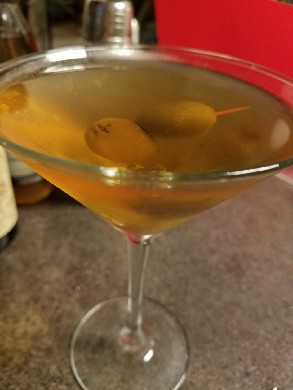 Dirty Martini with vodka, very Dry, with blue-cheese stuffed olives; keto, paleo, and low-carb friendly
