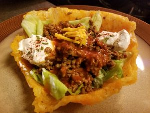 Keto Low Carb Taco Salad in a Cheesy Taco Bowl