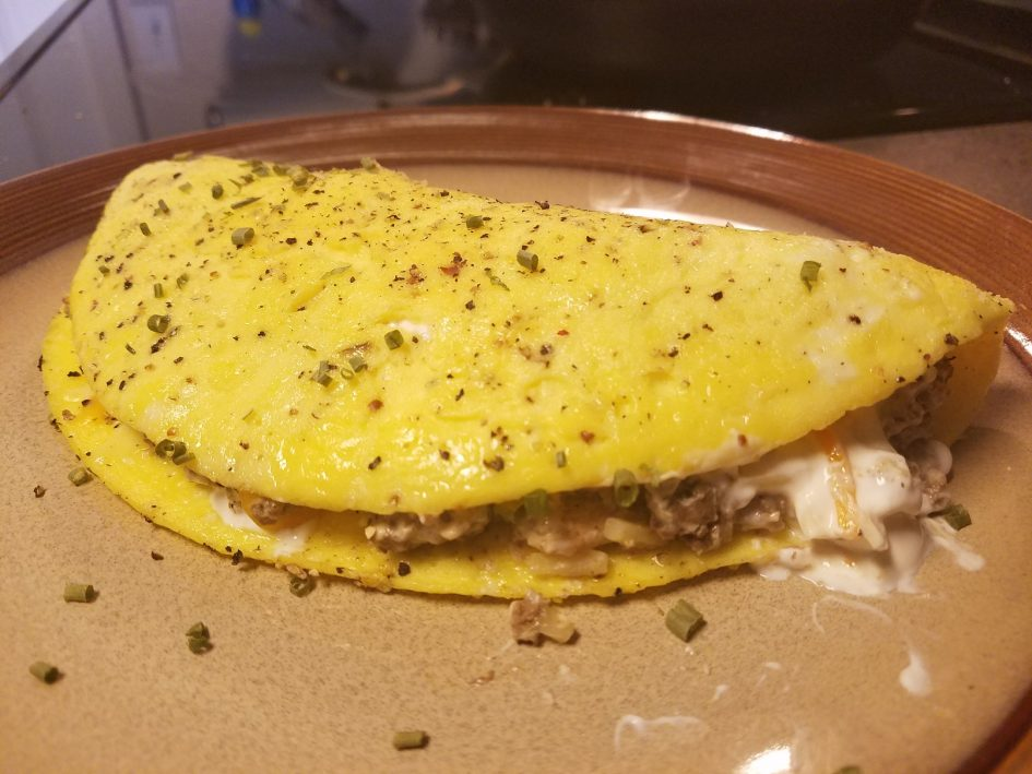 Creamy Beef and Bacon Omelet