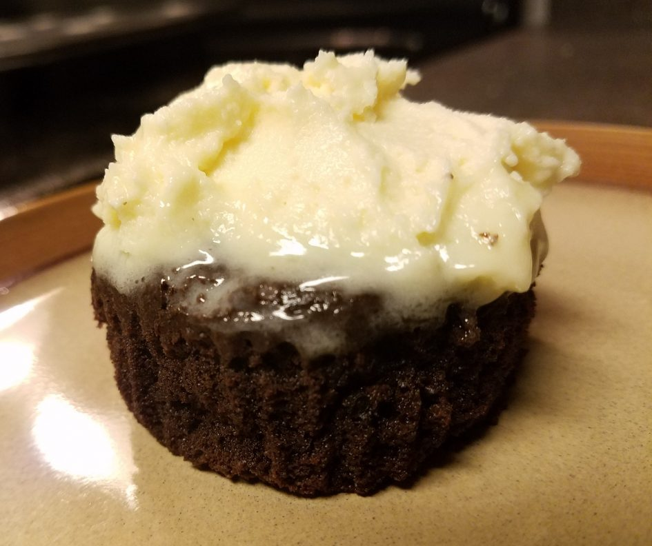 Keto Chocolate cupcake with vanilla cream cheese frosting