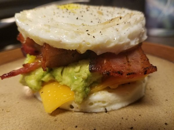 Egg Round Bacon Cheese Avocado Sandwich