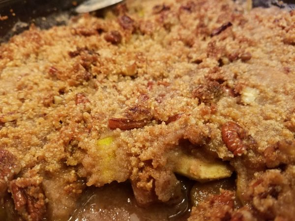 Keto mock apple crumble using zucchini; low-carb, sugar-free, grain-free, gluten-free, apple-free!