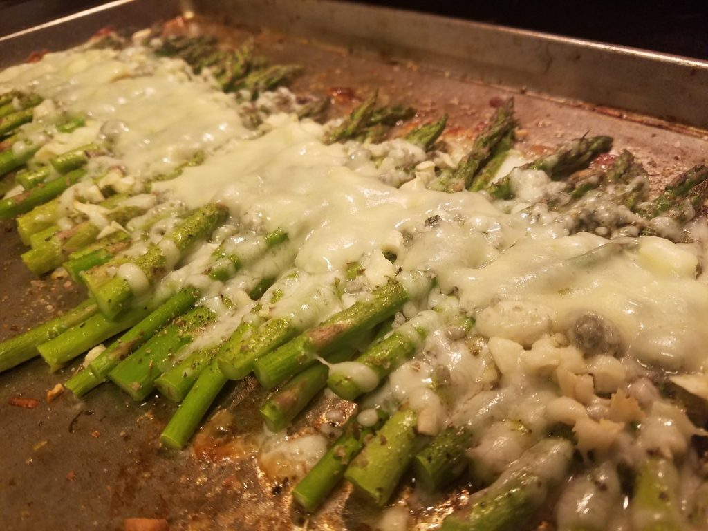 Baking Sheet of 3-cheese asparagus; keto and low-carb side