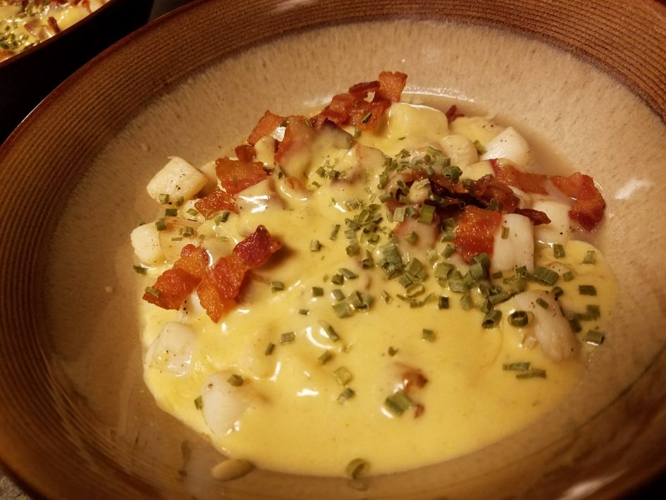 Keto seared bay scallops in a bacon cream sauce