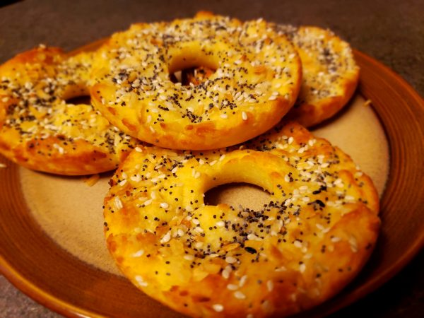 keto paleo bagel with everything topping