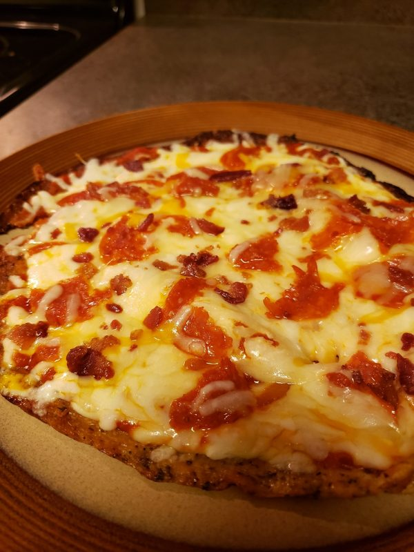 keto pizza with cauliflower crust, gluten-free, low-carb, keto, grain-free