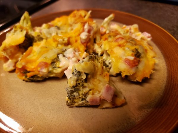 Roasted Broccoli and Cheese Casserole, with optional ham; keto, low-carb, gluten-free, grain-free, LCHF, vegetarian